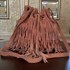 New! Coral pink suede crossbody bag!